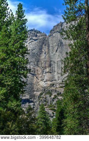 A Dry Upper Yosemite Falls At Yosemite National Park In California During The Summer.