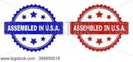 Rosette Assembled In U.s.a. Seal Stamps. Flat Vector Scratched Seal Stamps With Assembled In U.s.a.