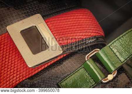 Colorful Bright Detals Of Handbag Close-up. Concept Of Shopping, Manufacturing, Accessory