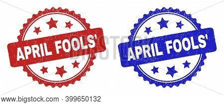 Rosette April Fools' Seal Stamps. Flat Vector Distress Seal Stamps With April Fools' Title Inside Ro