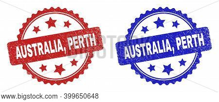 Rosette Australia, Perth Stamps. Flat Vector Grunge Watermarks With Australia, Perth Caption Inside