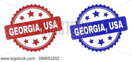 Rosette Georgia, Usa Watermarks. Flat Vector Scratched Watermarks With Georgia, Usa Phrase Inside Ro