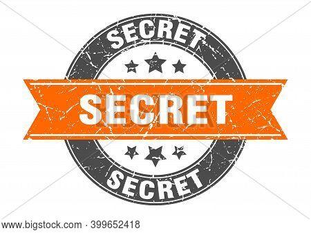 Secret Round Stamp With Orange Ribbon. Secret