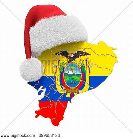 Ecuadorian Map With Red Santa Hat. New Year And Christmas Holidays Concept, 3d Rendering Isolated On