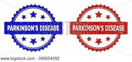 Rosette Parkinson's Disease Seal Stamps. Flat Vector Textured Stamps With Parkinson's Disease Phrase