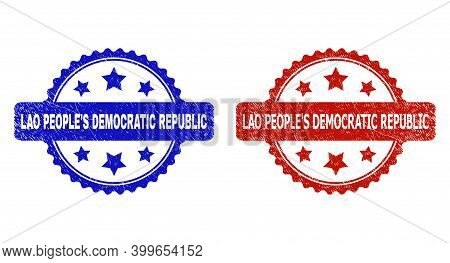 Rosette Lao People's Democratic Republic Watermarks. Flat Vector Grunge Seal Stamps With Lao People'