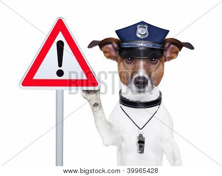 police dog with a street warning sign poster