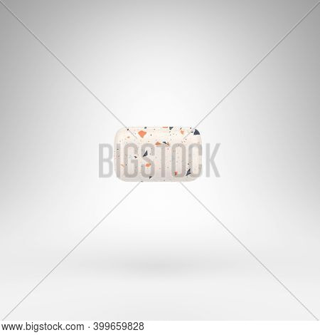 Minus Symbol On White Background. 3d Rendered Sign With Terrazzo Pattern Texture.