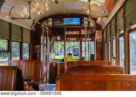 New Orleans, La - November 20: Forward View Of Interior Of Streetcar On The St. Charles Avenue Line