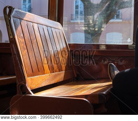 New Orleans, La - November 20:  Foot Rests On Bench Seat Of St. Charles Avenue Streetcar On November