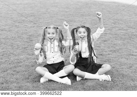 Power Of Apples In Your Health. Happy Children Hold Apples On Green Grass. Natural Diet. Dental Heal
