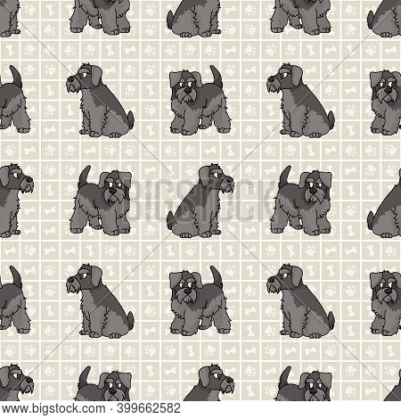 Cute Cartoon Schnauzer Sitting Vector Clipart. Pedigree Kennel Dog Breed For Obedience Training. Pur