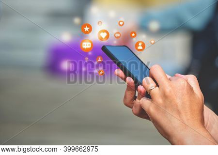 Smartphone Concept In Hands With Social Media Activity Subscribers, Likes, Messages.