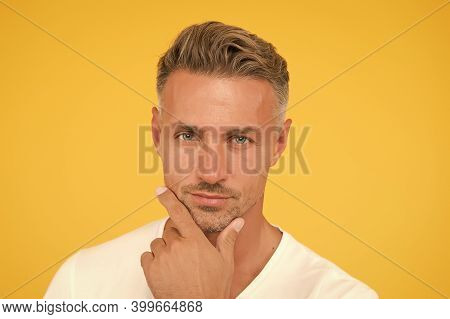 Take Ageing With Respect. Grizzle Hair. Deal With Gray Roots. Man Attractive Well Groomed Facial Hai