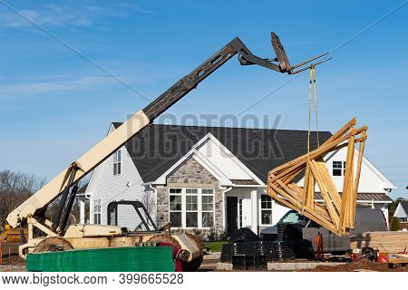 Raising The Rafters With A Crane Wood Roofdevelopment