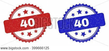 Rosette 40 Seal Stamps. Flat Vector Grunge Seal Stamps With 40 Text Inside Rosette With Stars, In Bl