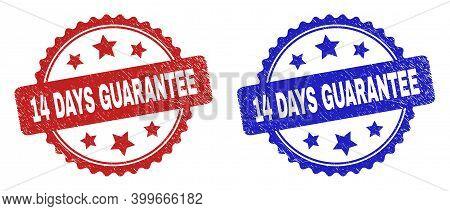Rosette 14 Days Guarantee Seal Stamps. Flat Vector Textured Seal Stamps With 14 Days Guarantee Title