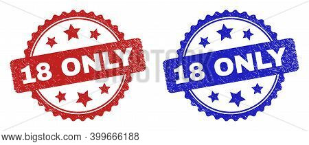 Rosette 18 Only Watermarks. Flat Vector Grunge Watermarks With 18 Only Phrase Inside Rosette Shape W