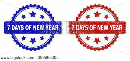 Rosette 7 Days Of New Year Watermarks. Flat Vector Grunge Seals With 7 Days Of New Year Title Inside