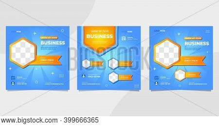 Set Of Social Media Post Templates For Business Webinar, Online Education And Other Seminars On Blue