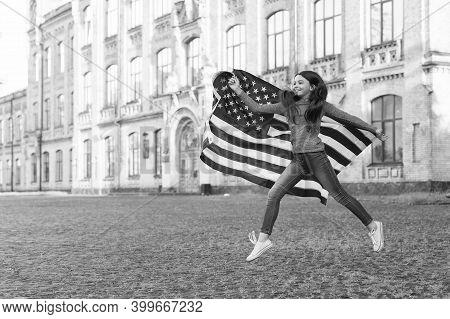 Got Usa Visa. Happy Girl Jump With American Flag. Visa Applicant. Visa Application. Immigration And