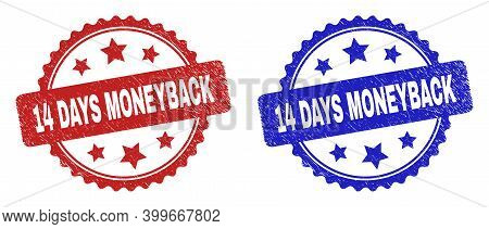 Rosette 14 Days Moneyback Watermarks. Flat Vector Scratched Seals With 14 Days Moneyback Phrase Insi