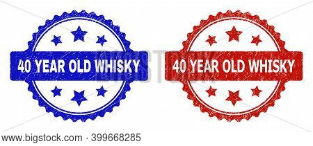 Rosette 40 Year Old Whisky Watermarks. Flat Vector Scratched Watermarks With 40 Year Old Whisky Phra