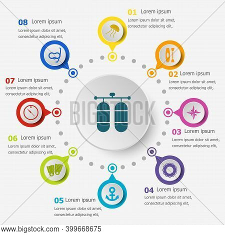 Infographic Template With Diving Icons, Stock Vector