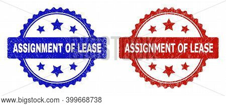 Rosette Assignment Of Lease Seal Stamps. Flat Vector Distress Seal Stamps With Assignment Of Lease P