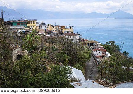Indigenous Green Mountain Village Along Lake Atitlan, Santa Cruz La Laguna, Guatemala