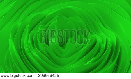 Abstract Background With Green Noise Wave Field. Abstract Landscape Mountain Surface. Detailed Displ