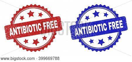 Rosette Antibiotic Free Seal Stamps. Flat Vector Textured Seal Stamps With Antibiotic Free Phrase In