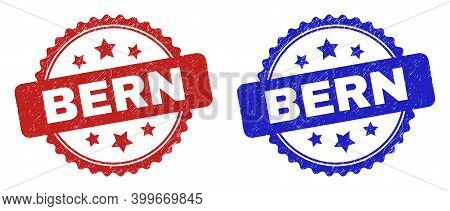 Rosette Bern Seal Stamps. Flat Vector Scratched Seal Stamps With Bern Caption Inside Rosette Shape W