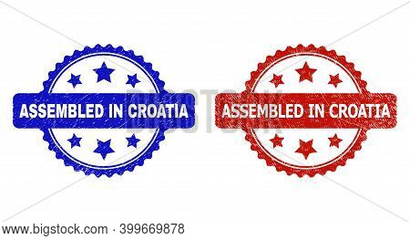 Rosette Assembled In Croatia Seals. Flat Vector Scratched Watermarks With Assembled In Croatia Text
