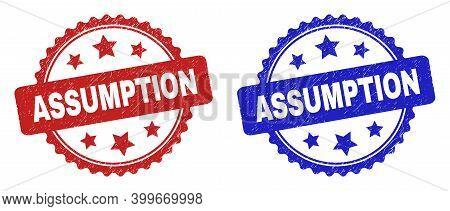 Rosette Assumption Watermarks. Flat Vector Distress Seals With Assumption Title Inside Rosette Shape