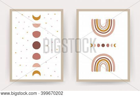 Posters With Abstract Rainbow And Moon. Scandinavian Design For Wallpaper And Home Decor. Contempora