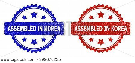 Rosette Assembled In Korea Watermarks. Flat Vector Distress Seal Stamps With Assembled In Korea Text