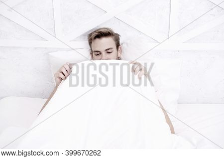 Man Looking Under Blanket. Male Reproductive System. Why Men Get Morning Erections. Normal Erections
