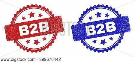 Rosette B2b Seal Stamps. Flat Vector Distress Seal Stamps With B2b Message Inside Rosette Shape With