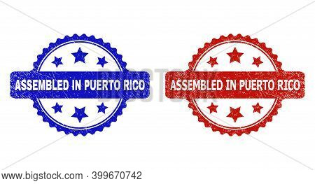 Rosette Assembled In Puerto Rico Seal Stamps. Flat Vector Scratched Seal Stamps With Assembled In Pu