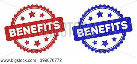 Rosette Benefits Seal Stamps. Flat Vector Grunge Stamps With Benefits Message Inside Rosette With St