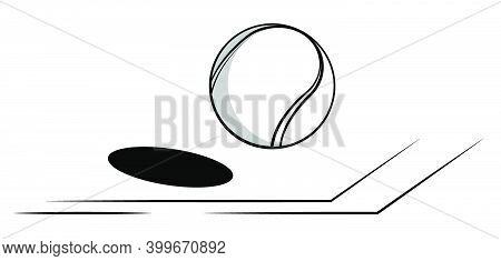 Tennis Ball Flies In Line Of Court. World Tennis Tournament. Sport Equipment. Background For Design