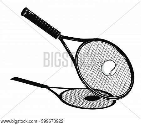 Tennis Racket Bounces Sports Tennis Ball After Strong, Accurate Serve From An Opponent. Sport Compet