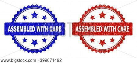 Rosette Assembled With Care Watermarks. Flat Vector Scratched Watermarks With Assembled With Care Ph