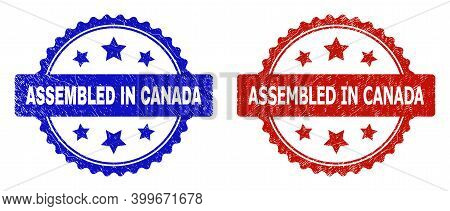 Rosette Assembled In Canada Seal Stamps. Flat Vector Distress Seal Stamps With Assembled In Canada C