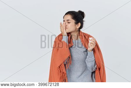 Health Problems Young Woman With Napkin Runny Nose Allergic Reaction Flu