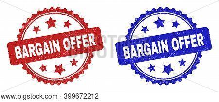 Rosette Bargain Offer Seal Stamps. Flat Vector Grunge Seal Stamps With Bargain Offer Phrase Inside R