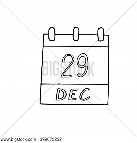 Calendar Hand Drawn In Doodle Style. December 29. International Cello Day, Date. Icon, Sticker Eleme