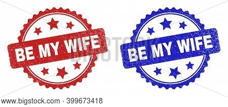 Rosette Be My Wife Watermarks. Flat Vector Textured Watermarks With Be My Wife Text Inside Rosette S