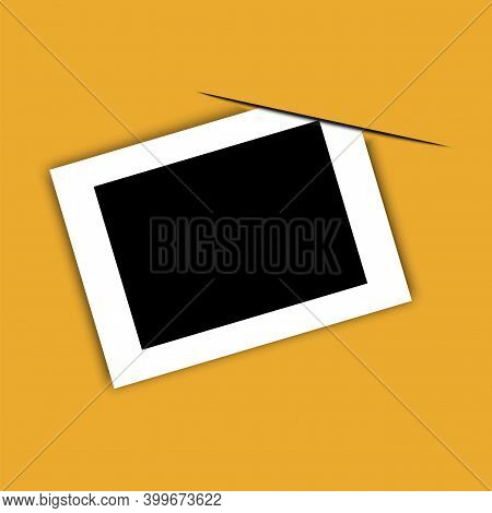 Photo In Vintage Style On Orange Background. Photo Frame. Blank Template. 3d Photo For Paper Design.